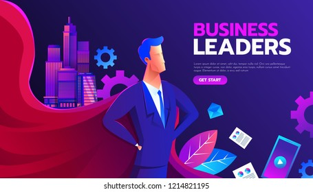 Young man in a business suit and red cape superhero standing in a confident pose with his arms on wrist. Business concept of leadership and success. Flat vector illustration.