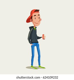 A young man in cap and hoody with a can of beer or other drink. Vector illustration of walking smiling guy.