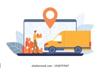 Young Man carry parcels to Delivery truck on GPS map laptop screen background. Order Tracking concept. Vector illustration flat design style.