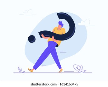 Young man carrying heavy question symbol. Flat modern concept vector illustration of people who needs professional help, support or more information. Casual design on white background