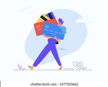Young man carrying some heavy credit cards. Flat modern concept vector illustration of burden of credit cards and bank fees during life. Casual consumer with plastic cards on white background