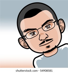 Young Man Cartoon Face with Glasses