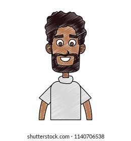 Young man cartoon profile scribble