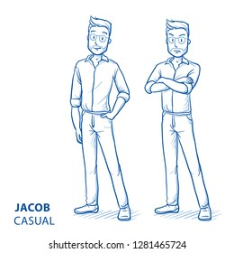 Young man in casual clothes with happy and angry expression and pose. Hand drawn blue line art cartoon vector illustration.