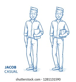 Young man in casual clothes holding a book or files in his arm. Hand drawn blue line art cartoon vector illustration.