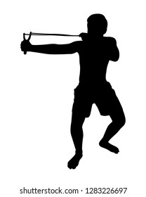 Young man with catapult silhouette vector