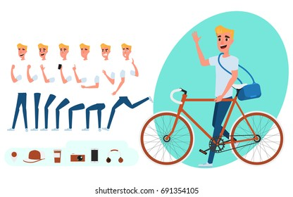 Young man character creation set for animation. Young man with bicycle. Parts body template. Different emotions, poses and  running, walking, standing, sitting. Cartoon Vector Illustration.