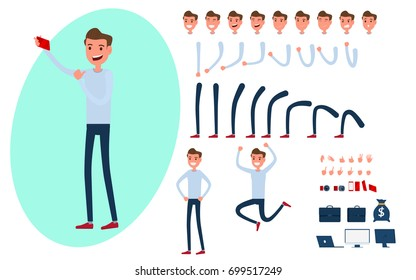 Young man character creation set for animation.Young man taking photos with smart phone in various poses. Parts body template. Different emotions poses and standing. Cartoon Vector Illustration.