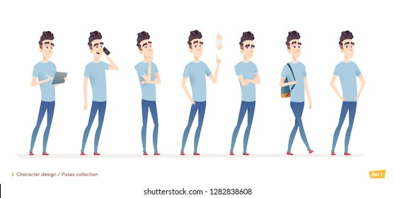 Young man character in different poses and situation. Modern flat cartoon style