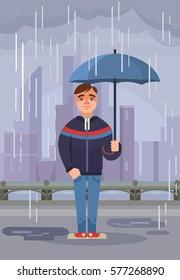 Young man character hold umbrella under rain. Vector flat cartoon illustration