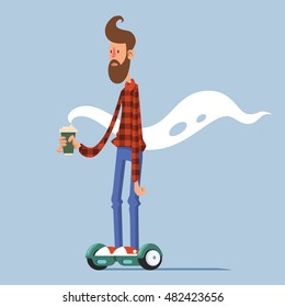 Young man character on hoverboard with cup of coffee isolated vector illustration. Hipster on gyro scooter.
