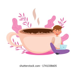 Young Man Character Sitting with Laptop Near Huge Coffee Cup with Floral Backdrop Vector Illustration