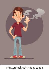 Young man character smoking cigarette. Vector flat cartoon illustration