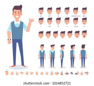 Young man character for your scenes. Character creation set with various views,  face emotions,  lip sync, poses and gestures. Separate Parts of body. Cartoon style, flat vector illustration.