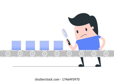 Young man check the quality control of products on production line. QC quality control concept illustration.