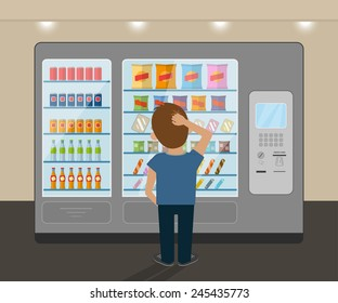 Young man is choosing a snack at vending machine. Flat vector illustration of consumer stands near big vending machine and going to buy a cold drink and tasty snack. Fast food selling and buying