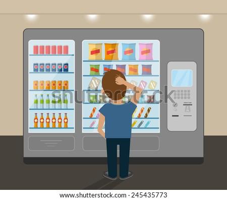 Young Man Choosing Snack Vending Machine Stock Vector ...