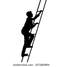 Young man climbs the stairs of the high ladder, vector illustration, black and white picture, black outline silhouette of man