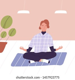 Young man with closed eyes sitting cross legged and meditating. Business meditation, office relaxation technique, mindfulness, spiritual practice at work. Flat cartoon colorful vector illustration.