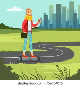 Young man with coffee riding on on gyroscope on city street, fashionable guy on self balancing modern electric scooter vector illustration