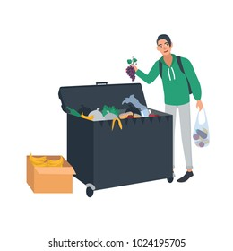 Young man collecting fruits and vegetables from waste container or trash bin. Male freegan searching for leftover food in dumpster. Cartoon character isolated on white background. Vector illustration.