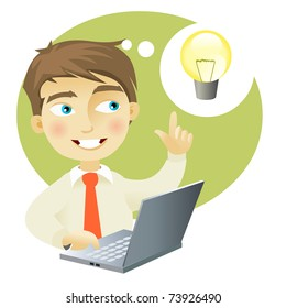 A young man with a computer having and idea (represented as a lightbulb)
