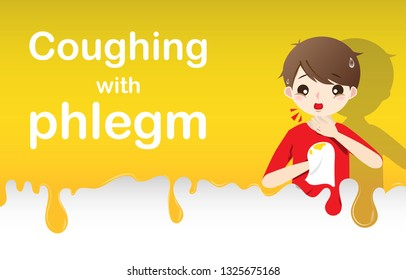 Young man coughing with phlegm and vomiting phlegm, sickness allergy concept. Green phlegm background for web, banner, template medical, hospital. Vector illustration