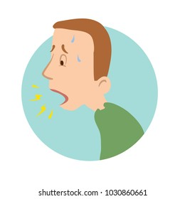 Young man coughing, shortness of breath, sickness icon. Vector flat illustration, isolated on white background.