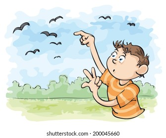 A young man counts the flying crows.
