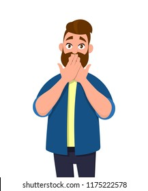 Young man covering mouth with hands. Man mouth with hand shocked with shame for mistake, expression of fear, scared in silence, secret concept. Emotion and body language in vector illustration.