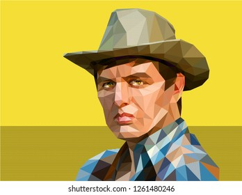 A young man in a cowboy hat is drawn in a low polygon technique. Stylized as a western illustration, imbued with tension. The hero has a stern gaze and expressively compressed lips, a stubborn chin.