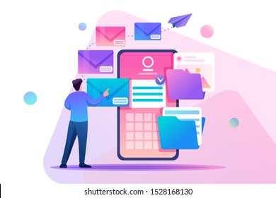 Young man creates New email message, send mail notification. New incoming message. Flat 2D character. Concept for web design.