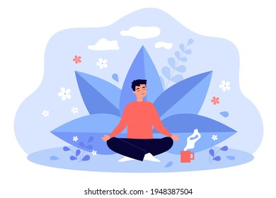 Young man with cup of tea meditating among plants and flowers. Colorful vector flat illustration. Healthy lifestyle, holistic mental therapy, wellness and self care concept