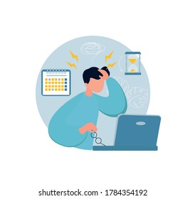 Young man in depression. Male personsitting sitting at working place  near a laptop.  Stressful situation, depression, Tiredness, overworked. Vectorn illustration