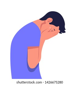 Young man in despair. The guy in profile is under great stress. Depressive disorder. Vector illustration in flat style.
