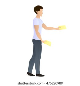A young man distributes leaflets. Isolated from the background. Leafleting. Advertising campaign. Promoter, distributor. Vector illustration