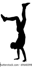 Young man doing cartwheel exercise. Sportsman in handstand position vector silhouette illustration. Standing on hand pose. Hand stand acrobatics, urban street performer. Stunt in circus. Exercising,