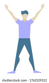 Young man doing morning exercises alone. Athletic guy spend time actively with sport or yoga. Adult human isolated on white background. Vector illustration of healthy lifestyle in flat style