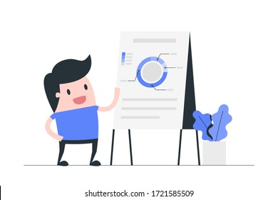 Young man doing project presentation showing charts on flipchart. Business presentation concept illustration.