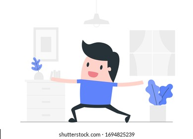 Young man doing yoga at home. Health & Fitness concept illustration.