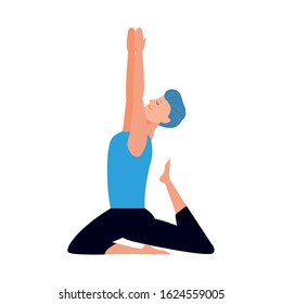 young man doing yoga icon over white background, vector illustration