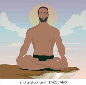 Young man doing yoga at sunset sitting in a lotus position on a rock