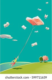 A young man is dragged from a book that flies high in the sky like a kite.