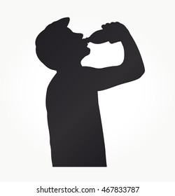Young Man drinking a Bottle of Water