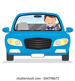 Young man driving blue car. Vector illustration of a cheerful man driving on isolated background.