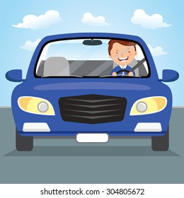 Young man driving blue car on the road. Vector illustration of a cheerful young man driving.