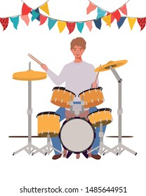 young man with drum kit on white background