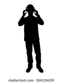 A young man with earphone silhouette vector