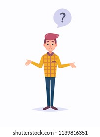 Young man emotionally spreads his hands. Question what's going on or why. Vector illustration in a cartoon style