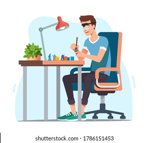 Young man enjoying miniature military figure model painting hobby. Hobbyist sitting at desk with lamp in magnifying glasses painting with brush carefully. Favorite pastime. Flat vector illustration
